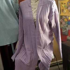 Dave And Dani cardigan in ash lilac tie sides